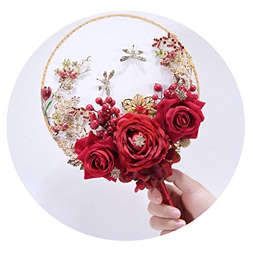 TaeHyung Unique Fan Type Wedding Flower Brooch Jeweled Crystal Bridal Bouquet Red Silk Rose Wedding Boquets D26,Red