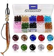 QualyQualy Fishing Beads Assorted Hard Plastic Glass Fishing Beads Red Yellow Mixed Color Glow Luminous Fishin
