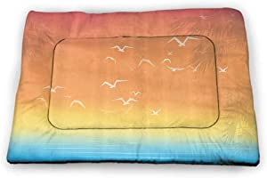 carmaxs Small Cat Bed Seagulls Decor for Food and Water Tropical Themed Island Sunset Print with Setting Sun Sea Palm Trees and Birds in Flight 21 x 14 inch Multi