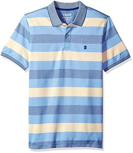 Dress Shirt Stripe (IZOD Men's Advantage Performance Stripe Polo (Regular Fit), Pure Sundress, Large Slim)