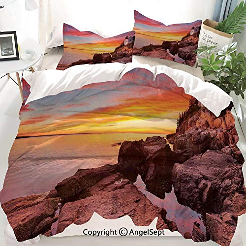 National Parks Home Decor Decor Duvet Cover Set Twin Size,Lighthouse on The Harbor Sea Shore with Horizon Sky New England Design,Decorative 3 Piece Bedding Set with 2 Pillow Shams
