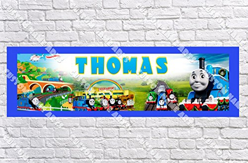 Personalized Thomas the Tank Engine Banner - Includes Color Border Mat, With Your Name On It, Party Door Poster, Room Art Decoration - (Thomas The Tank Engine Border)