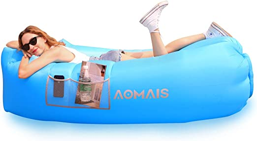 Inflatable Lounger Air Sofa Portable Waterproof Anti-Air Leaking Inflatable Pouch Couch with Pillow and Carrying Bag for Outdoor Camping, Picnics, ...