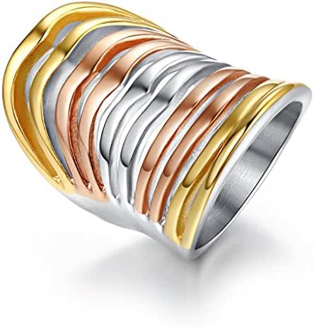Vintage Stainless Steel Multi-Color Big Head Ring,Gold Plated,,Rose Gold Plated,35mm Width,Size 6 to 9