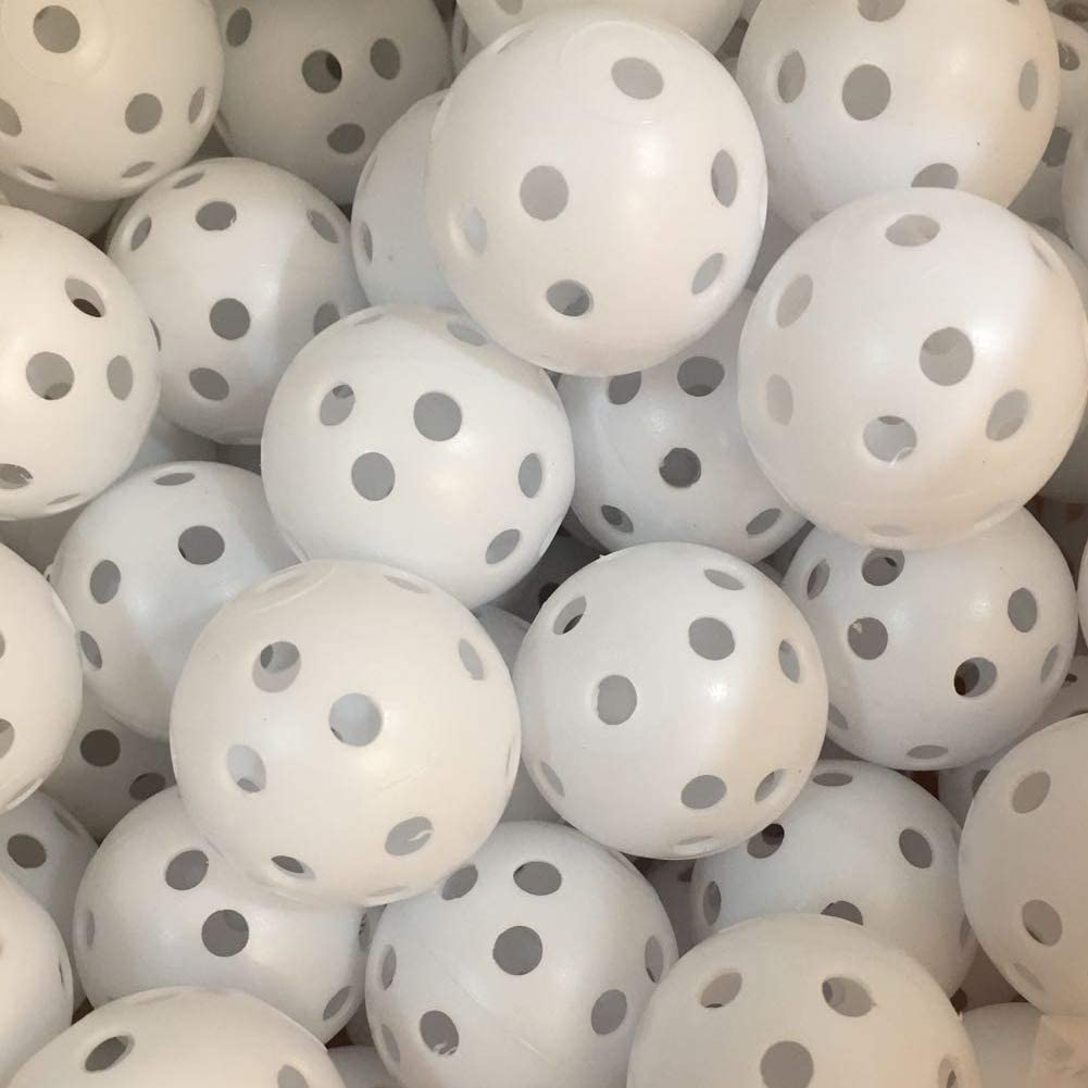 50 Pack White Practice Golf Ball, Seed Airflow Hollow Golf Training Balls for Driving Range, Swing Practice, Home Indoor Outdoor Use