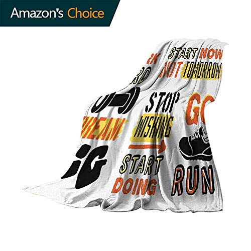 Fitness Picnic Blanket,Sports Affirmation Positive Quotes Motivational Typography Design Sneakers Colorful | Home Couch Outdoor Travel Use (80