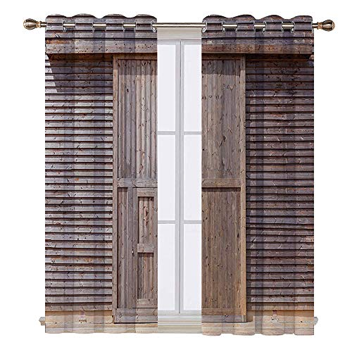 SATVSHOP Door Curtain - 108W x 96L Inch- Light Blocking Window Treatment for Bedroom Decor 2 Panels.Industrial Old Wooden Timber Oak Barn Door Farmhouse Countryside Ural House Village Artsy Brown.