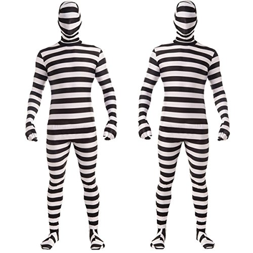 Halloween Jailhouse Prison Prisoner Jailbird Cosplay Costume Ninja Dress Up Stripe Bodysuit (Jailhouse Jumpsuit Costumes)