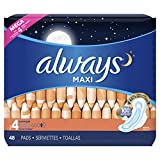ALWAYS Maxi Size 4 Overnight Pads With Wings Unscented, 48 Count,packaging may vary