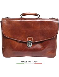 Luggage Depot USA, LLC Alberto Bellucci Italian Leather Triple Compartment Messenger Briefcase, Honey Briefcase...