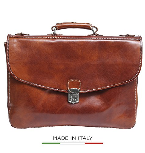 Alberto Bellucci Italian Leather Large Flap Lock Triple Compartment 17