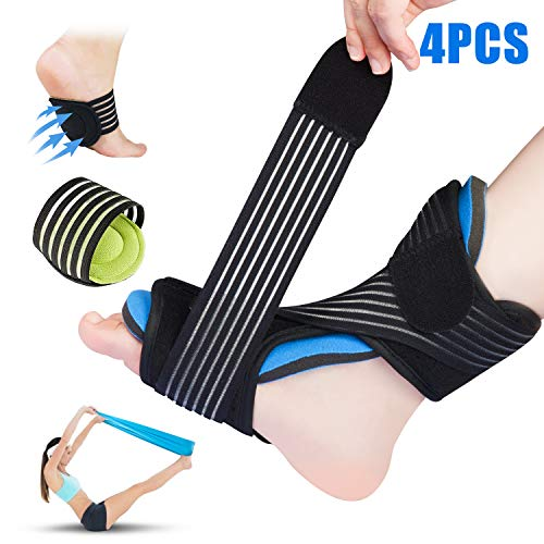 Plantar Fasciitis Night Splint for Sleep Support, Adjustable Dorsal Night Splints Brace -with Arch Supports&Elastic Excecise Band for Effective Relief from Arthritis, Tendonitis, Heel, Arch Foot Pain ()