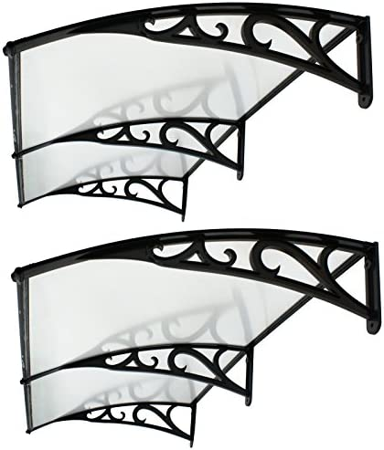 F2C Set of 2 40 x 80 DIY Outdoor Polycarbonate Front Door Window Awning Patio Cover Canopy Grey