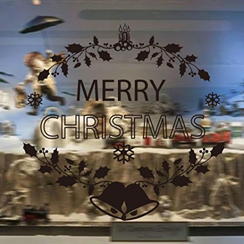 Iuhan Mural Merry Christmas Bell Background Shop Window Home Wall Decoration Removable Wall Stickers - Bell Map Shops Tower