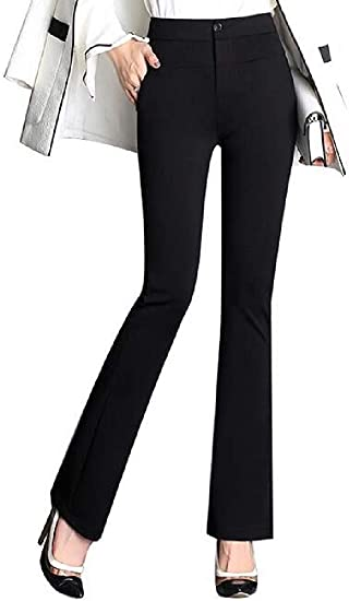 Women's Pants Solid High Rise Flat-Front Stretch Casual Bell Bottom Flared Pants