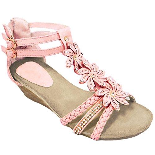 Designer Diamante Pink Flower (LADIES WOMENS WEDGE SANDALS STRAPPY SUMMER DIAMANTE FLOWER BEACH Evening SHOES)