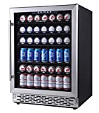 Phiestina 24 Inch Beverage Cooler Refrigerator - 175 Can Built-in or Free Standing Beverage Fridge with Glass Door for Soda Beer or Wine - Drink Fridge For Home Bar or Office