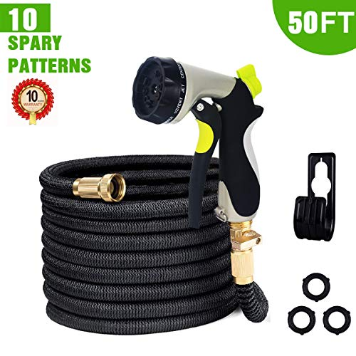 HanShoo 50FT Garden Hose Expandable Pocket Water Hose with 10 Function Metal Spray Nozzle 3/4″ Solid Brass Fittings and Double Latex Core