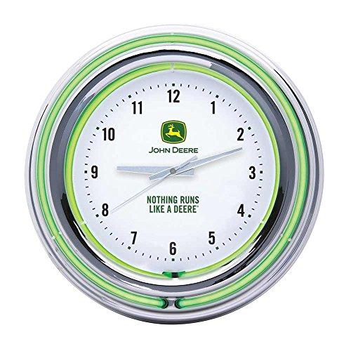 John Deere 'Nothing Runs Like a Deere' White Double Neon Clock