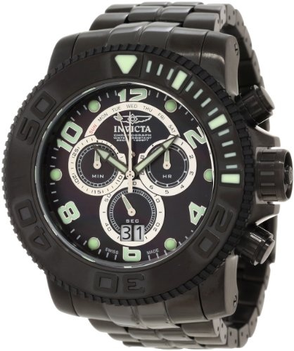 Invicta Men's 10771 Sea Hunter Pro Diver Chronograph Black Mother-of-Pearl Dial Black Ion-Plated Watch