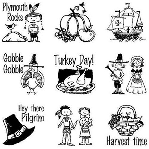 - Inkadinkado Cling Rubber Stamp Set Inchie Plymouth Rock Thanksgiving