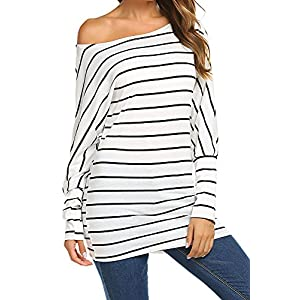 6c49ea250 Qearal Womens Long Sleeve Striped Shirts Loose Casual Off Shoulder Tops  Blouses