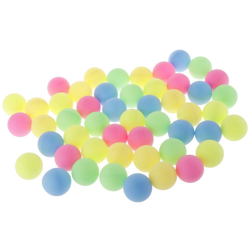 perfk 50 Stück Bunt Tischtennisbälle Ohne Aufdruck Ping Pong Ball Bälle Unterhaltung 40mm