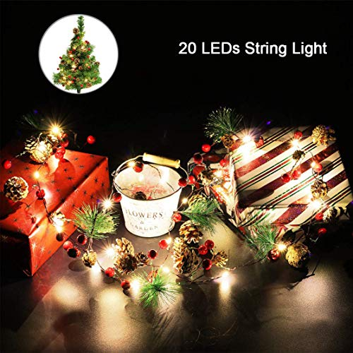 Outgeek Christmas String Light Creative Pinecone Bell Berries Decor Fairy String Light 20 LEDs String Light 6.56ft. (Bells Christmas Lighted)