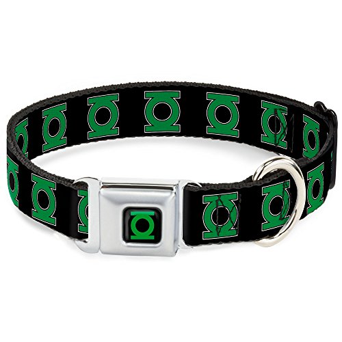 "Buckle-Down Seatbelt Buckle Dog Collar - Green Lantern Logo Black/Green - 1"" Wide - Fits 15-26"" Neck - Large"