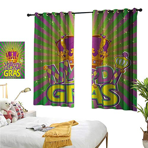 (Luckyee Blackout Draperies for Bedroom,Mardi Gras,63