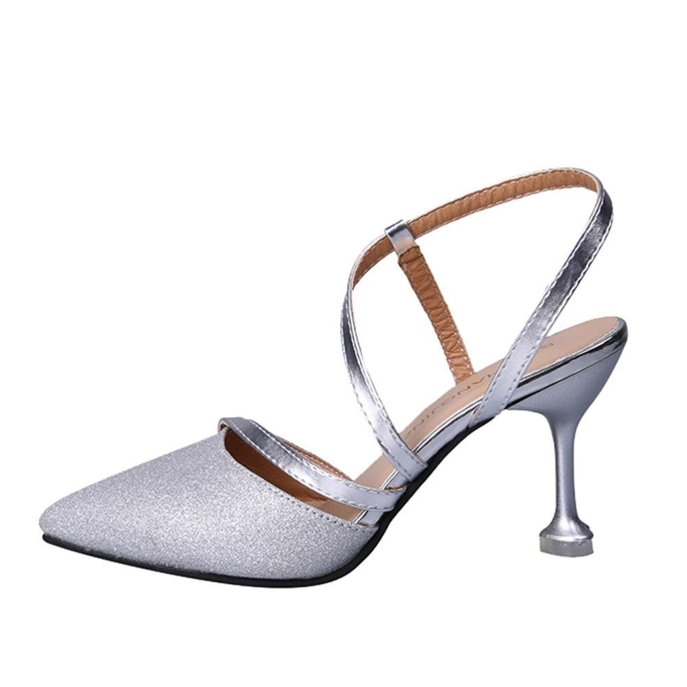 HOT Sale,AIMTOPPY Women's sexy fashion fine with pointed shallow mouth sequins hollow T-strap high heels (US:5, Silver)