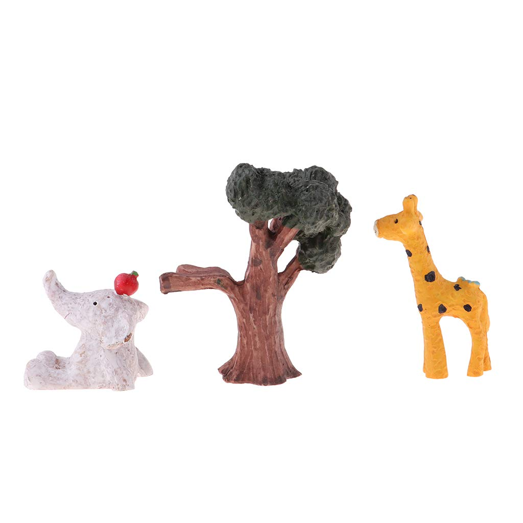 Baoblaze Miniature Animal Figurines, Tree + Deer + Elephant