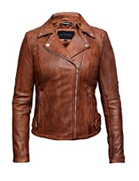 Brandslock Womens Genuine Leather Biker Jacket Lambskin Vintage