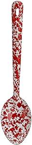 Enamelware Spoon, 12 inch, Red/White Splatter (Single)