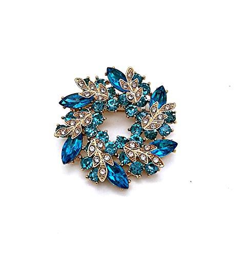 - Dejavu Wedding Flower Wreath Brooches Women, Fancy Flower Leaf Imitation Crystal Brooches Pins Turquoise