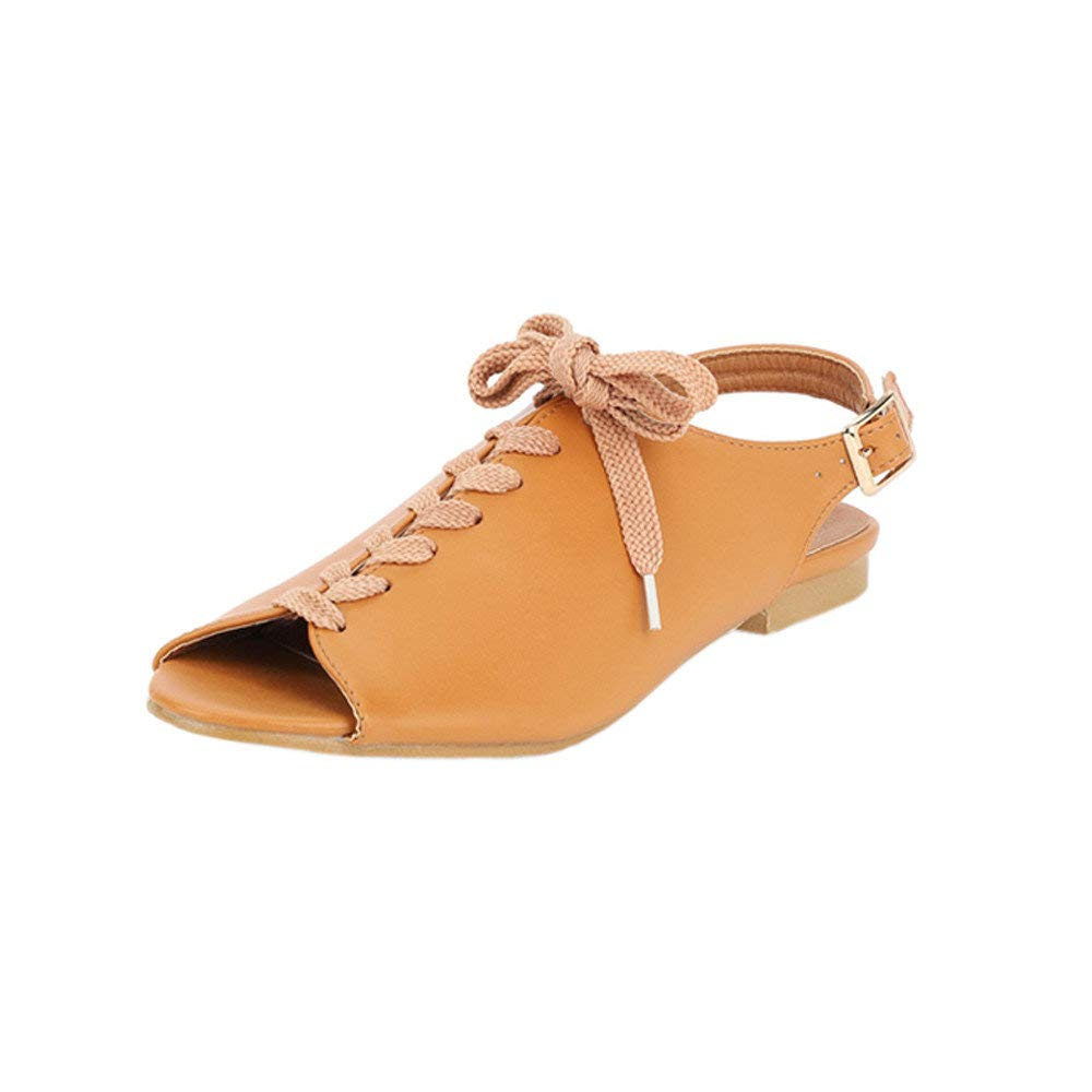 Dressin Women Summer Round Toe Fish Mouth Lace-Up Beach Sandals Rome Casual Flat Shoes