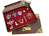 The Legend of Zelda Twilight Princess Triforce Hylian Shield and sWord Master Key Ring Legend Necklace Jewelry Series in Wooden Box Red -10 sets