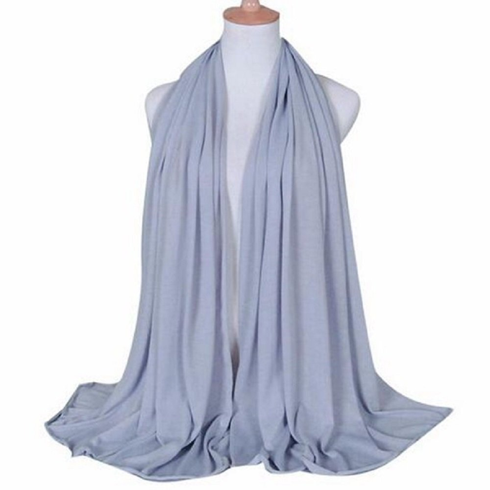 Elegance Collections Muslim Women's Jersey Hijab Khimar Soft Rectangle One Size (Light Grey)