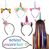 Unicorn Horn Headbands Hair Band with Flower Ears for Girls Birthday Cosplay Party Accessory, Random, 6 Pack
