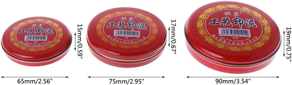 Hergon Vermilion Inkpad for Stamp Seal Painting Red Ink Pad Fingerprint Graffiti Baby Educational Toy Paste DIY Art Craft