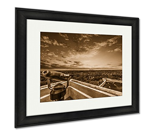Ashley Framed Prints Colorful Sky Over Los Angeles At Sunset, Wall Art Home Decoration, Sepia, 26x30 (frame size), Black Frame, - Los Frame Angeles Sky