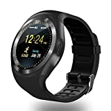 SEPVER SN05 Round Bluetooth Smart Watch with SIM TF Card Slot Pedometer Sleep Monitor Remote Capture sync notifications Compatible for Android Smart phones Support Facebook Whatsapp Twitter (Black)