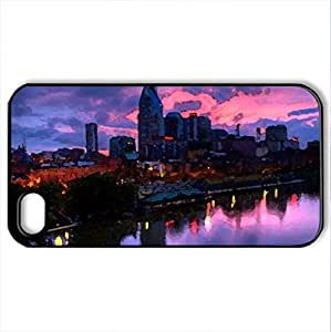 Beautiful Night - Case Cover for iPhone 4 and 4s (Skyscrapers Series, Watercolor style, Black)