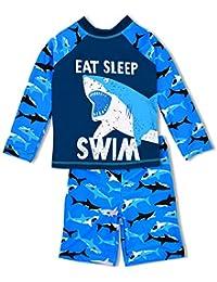 963a4be453 Boys Two Piece Rash Guard Swimsuits Kids Long Sleeve Sunsuit Swimwear Sets
