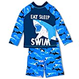 Boys Two Piece Rash Guard Swimsuits Kids Long Sleeve Sunsuit Swimwear Sets 10T