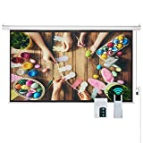 Cloud Mountain 100'' 16:9 HD Electric Projector Screen Remote Control Home Theater TV Motorized Wall Mounted Ceiling Projection Screen 1.3 Gain Matte White