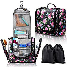 ELV Hanging Toiletry Bag – Large Travel Cosmetic Storage Organizer, Men & Women, for Makeup, Toiletries, Hygiene…