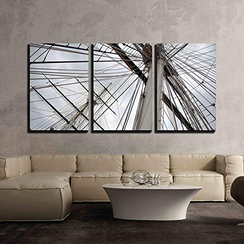 Anzona 3 Panel Canvas Wall Art Paintings, Maritime Naval Rigging of an Old Merchant Clipper, with The Spars, Mast and Pulleys, Modern Home Decor Stretched and Framed Ready to Hang, 16''x20''x3 Panels
