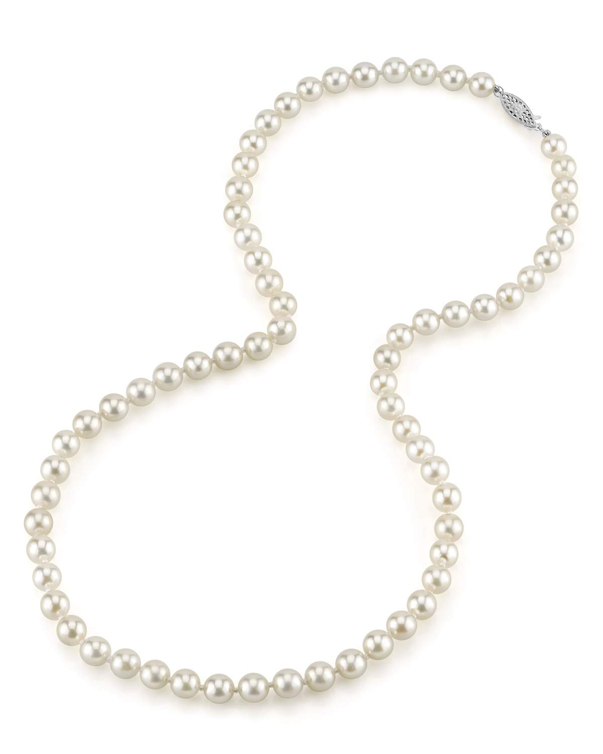 THE PEARL SOURCE 14K Gold 6.0-6.5mm AAA Quality Round Genuine White Japanese Akoya Saltwater Cultured Pearl Necklace in 18'' Princess Length for Women by The Pearl Source