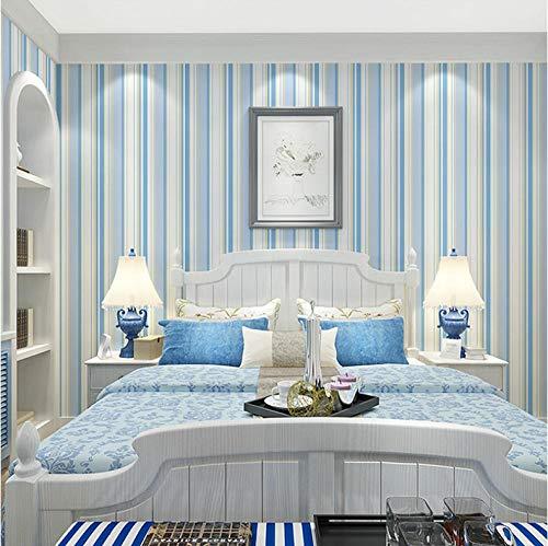 JHNJUS Children Room Non-Woven Vertical Striped Wallpaper 3D Pink Blue Stripes Girls Bedroom Wall Decoration Wallpaper for Walls -